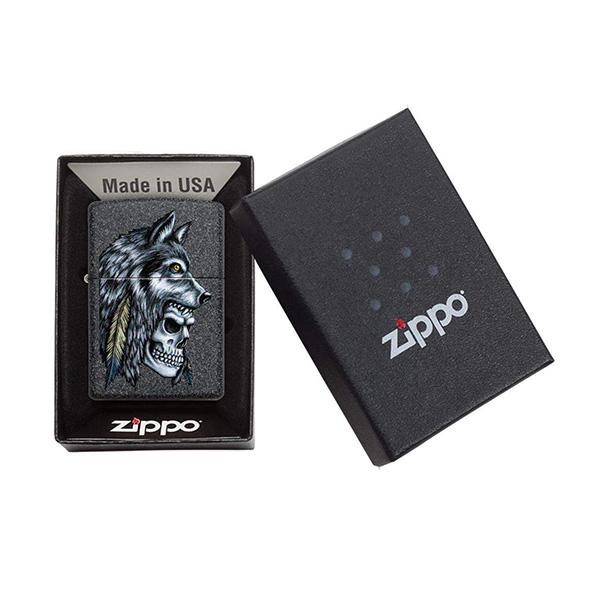 Zippo 29863 Wolf Skull Feather Design