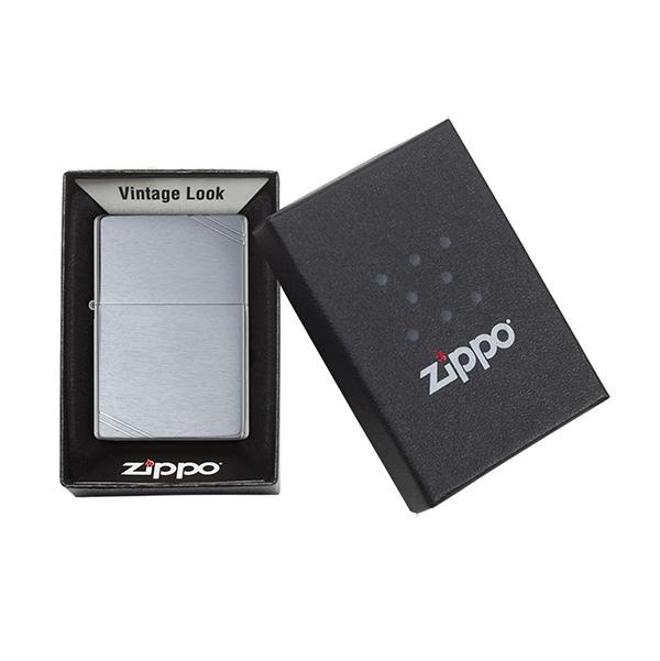 Zippo 230 Brushed Chrome Vintage с полосками