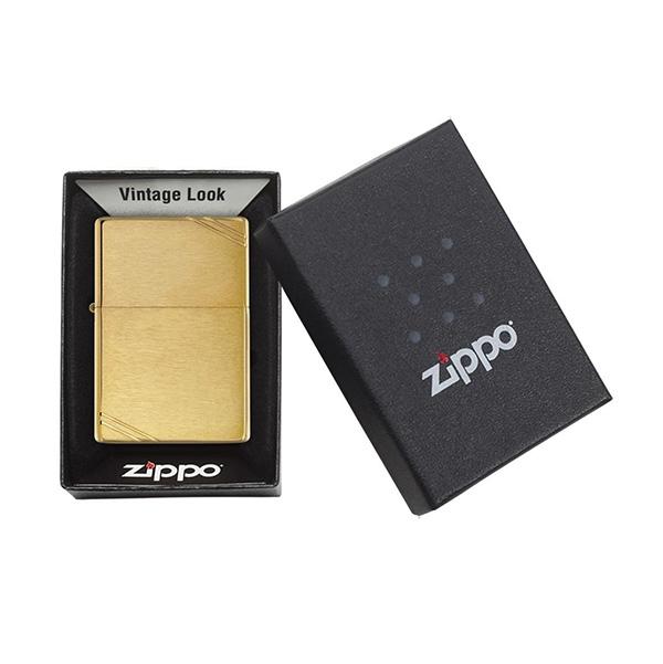 Zippo 240 Brushed Brass Vintage with Slashes