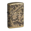 Zippo 49035 Armor Freedom Skull Antique Brass