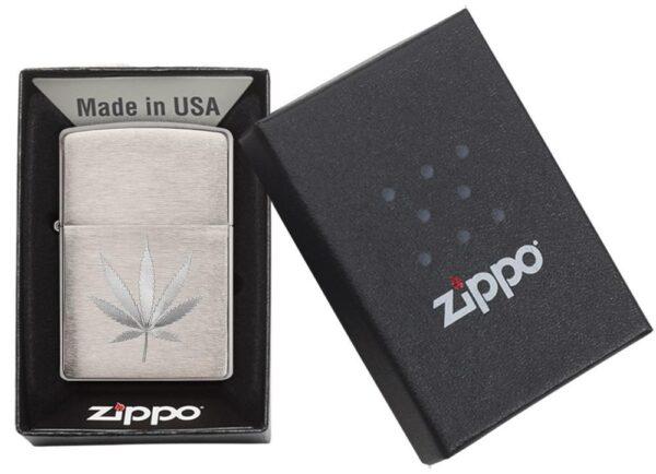 Zippo 29587 Chrome Marijuana Leaf Design