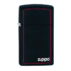 Zippo 1618ZB Slim Black Matte with Red Border